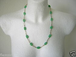 Antique quot; At Dbl quot; Gold Plated Double Chain With Green Stones Color 1.1oz 22 13 $43.96