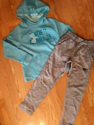 GIRLS SIZE M 10 12 HOODIE amp; SWEATPANTS UNDER ARMOUR amp; NIKE LOT OF 2 $19.99