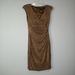Ralph Lauren metallic Cocktail Evening Dress Brown Gold Rn 2p sleeveless ruched $20.95