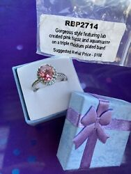 Ring bomb party Size 7 Pink Topaz And Aquamarine RBP2714 $18.00