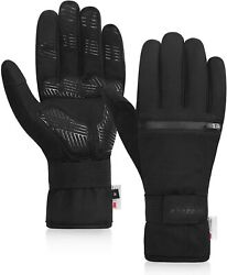 Speecle Reinforced Winter Cycling Gloves Waterproof Thermal Gloves with Zipper P $39.44
