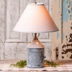 Paul Revere Lamp with Ivory Linen Shade in Weathered Tin Finish by Irvins $302.45