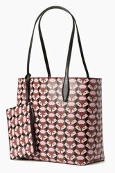 Kate Spade Reversible Out Of The Woods Geo FOX large tote Wristlet Bag Purse NWT $181.35