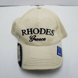 Rhodes Greece Hat Cap White Adult Used Strapback Souvenir W6 $9.99