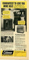 1948 Print Ad of Coleman Oil Heater Warm Floors Twin Heating father and son $9.99