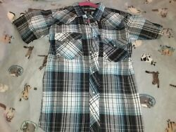 Casual Country Plaid Button Snap Up Boys 12 14 $3.50