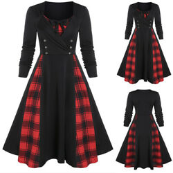 Women#x27;s Plaid Check Long Sleeve Swing Dress Gothic Punk Christmas Party Dress US $23.09