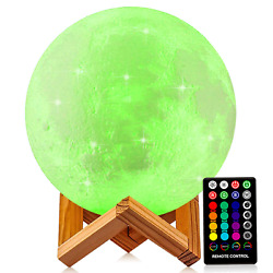 Moon Lamp Large 9.6 inch DTOETKD 3D Print 16 Colors Moon Night Lights with Stan $70.99