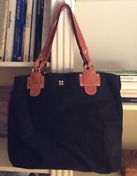 Kate Spade Black Tote Large Nylon With Brown Leather $33.99