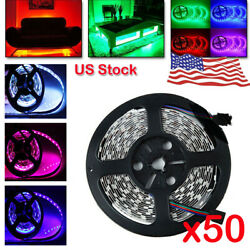 50PCS 5M 32.8FT 5050 RGB FLEXIBLE LED STRIPS LIGHTS 600 SMD NON WATERPROOF 12V