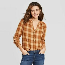 Women#x27;s Plaid Long Sleeve Button Front Blouse Universal Threads Yellow 2X $8.99