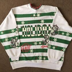 Vintage USA Made Christmas Cat Sweater Green White Stripe Holiday Women Large $14.95