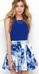 MANGO women#x27;s skirt Size S blue and white Floral $9.99