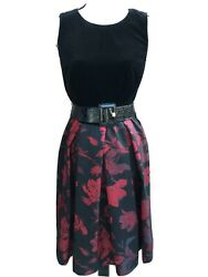 NWT Ramp;K Velvet Pleated Floral Fit Flare Sleeveless Party Evening Dress Size 8 M $24.99