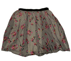 Torrid Lined Flowy Skirt Size 3X 4X Stripes With Floral Elastic Waistband $36.97