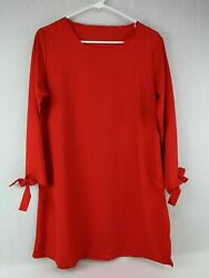 Women#x27;s XL Red Dress with Ties at Ends of Sleeves $12.95