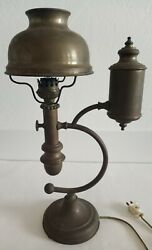 Vintage Antique Brass Student Table Lamp 18.5quot; H Brass Shade Wow $119.80