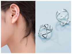 S925 Sterling Silver Pentacle Star Clip on Ear Cuff One Pair $11.98