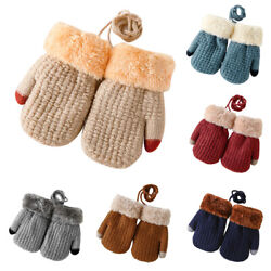 1 Pair Winter Baby Gloves W Rope Warm Mitten Elastic For Kids Toddler Infants $4.89
