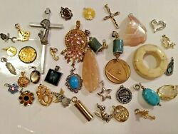 LOT OF VINTAGE amp; MODERN CHARMS PENDANTS SHELL RHINESTONE RELIGIOUS AND MORE $25.00
