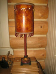 UNUSUAL MATCHING PAIR BARREL LAMP SHADES WITH BEADED TRIM FOR SMALL LAMPS 8.5quot; $21.50
