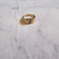 Heart Ring Clear Stone Gold Tone Casual Everyday Cute Party $4.73