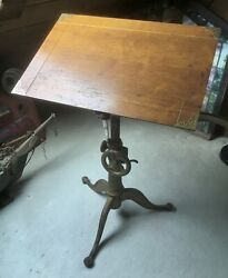 Antique Cast Iron Drafting Table Vintage Desk RARE Spectacular $1475.00