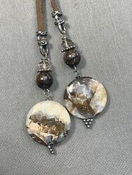 """Ladies Brown Bohemian Long Tassel Picture jasper Necklace Leather Chain 26"""" $20.00"""