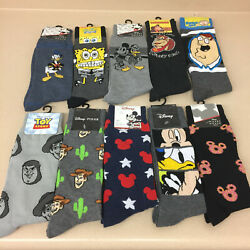 novelty socks mens crew multiple styles cartoons disney new tags AR265 $5.95