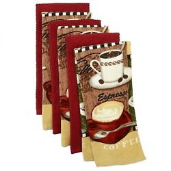 New The Big One® 6 Pack Coffee Kitchen Towels Red Soft Terry Cloth Java Theme $24.95