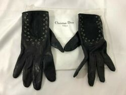 Authentic Christian Dior Womens Gloves Logo Black Leather Cotton Lace Metal $399.00