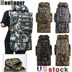 100L 90L 80L Outdoor Military Tactical Backpack Camping Hiking Molle Camo Bag US $35.90