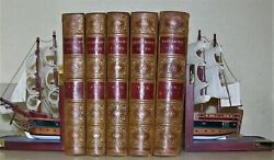 PLUTARCH LIVES 1859 5 VOLUME SET FINE LEATHER BINDINGS $645.00