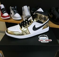 AIR JORDAN 1 MID GOLD SIZE 9 US MEN SHOES NEW WITH BOX $220.00