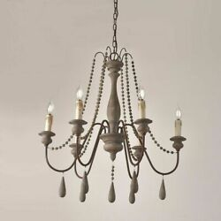 Vintage Gray Wooden Bead Swag Chandelier Candle Style 6 Light Pendant Rust USA $210.99
