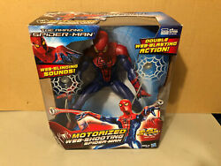 The Amazing Spider Man Motorized Web Shooting Electronic Sounds 14quot; tall MIB $64.95