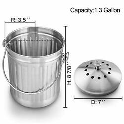 COMPOST BIN Stainless Steel Bucket Pail for Kitchen Food Waste 1.3 Gallon ENLOY $27.50