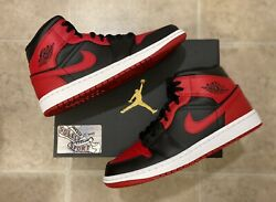 New Nike Air Jordan 1 Retro Mid Banned Red Black Bred 2020 Basketball Mens Size $209.25