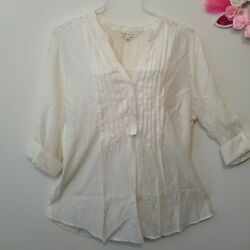 Hester and Orchard Large Ivory Lace Boho Top Rayon Pintuck Roll Tab Tunic Blouse $10.39
