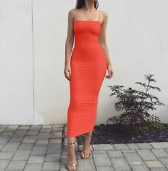 Tight Long Sleeveless Evening Solid Cocktail Women#x27;s Dresses Party Summer Dress $16.42