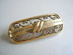 Antique At Dbl. quot; Sp Brooch Double Gold Plated Art Deco 0.2oz 1 7 8x0 11 16in $37.67