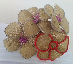 Jute Flowers 4 pcs Handmade Hessian Burlap Vintage Rustic Decorations $16.99