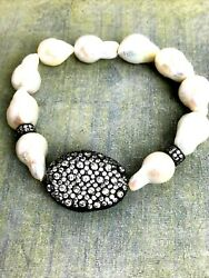 White Baroque Pearl Bracelet made with Swarovski Parts Crystal Focal Bead $39.99