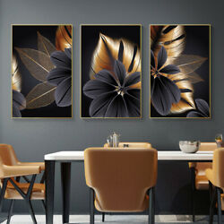 Black Golden Plant Leaf Canvas Posters Art Prints Wall Painting Room Home Decor $9.99
