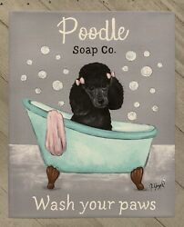 Poodle Black PRINT from Painting art Dog 8x10 Laundry Bathroom $18.00