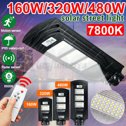 32000LM Commercial Solar Street Light LED Spotlight Outdoor Mounting Pole USA