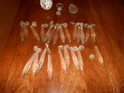 Lot of Vintage Crystal Clear Glass 23 Icicle Teardrop Ball Chandelier Prisms $39.99