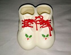 Lillian Vernon Vintage Glass Baby Booties 1986 Christmas Ornament Shoes Sneakers $10.00