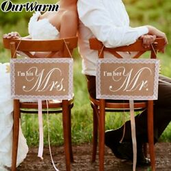 Mr. amp; Mrs. Wedding Chair Sign Rustic Burlap Lace Chair Banner Set DIY Decor $4.99