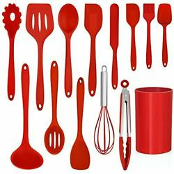 14 Pcs Cooking Utensils Set with Holder Heat Resistant Silicone Kitchen Red $31.88
